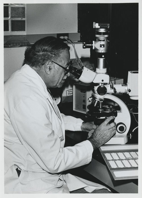 fishman at microscope