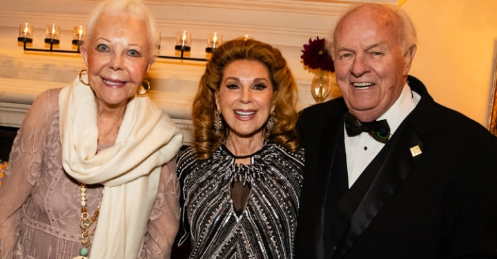 From left to right: Honorary co-chairs Jeanne Jones and Reena Horowitz pose with our namesake Denny Sanford at our annual gala.