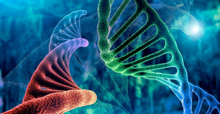 DNA strand and Cancer Cell Oncology Research Concept 3D rendering, abstract background