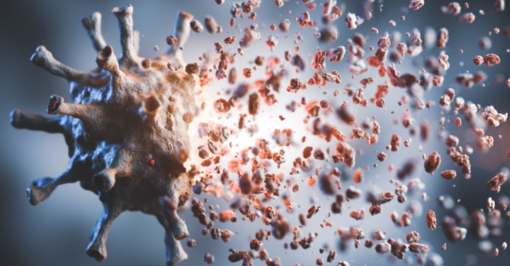 3D illustration of Coronavirus breaking up into pieces