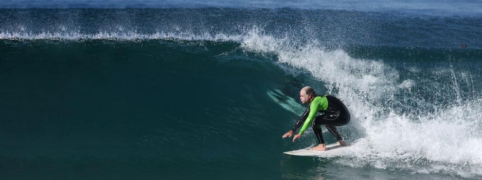 Carl Ware surfing