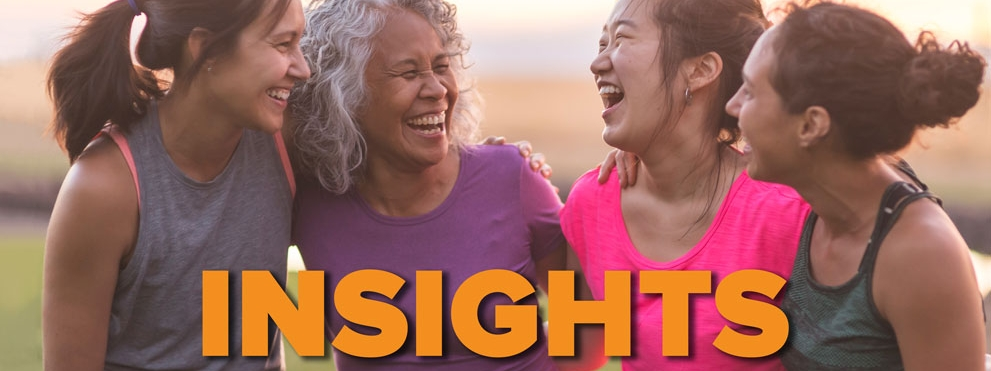 Insights: Women's Health grahpic, four women laugh together