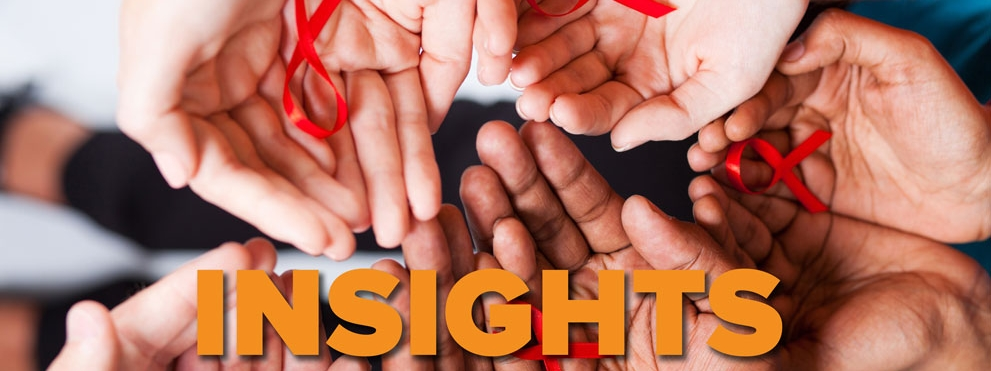 Insights HIV graphic: hands holding red HIV ribbon