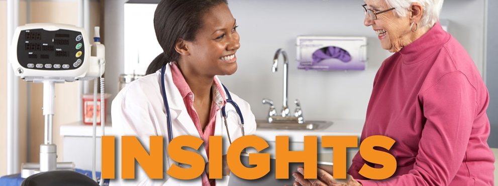 Insights graphic, smiling Black female doctor with smiling older white woman patient